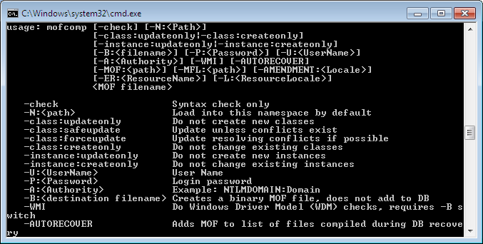 Administration via WMI - mofcomp